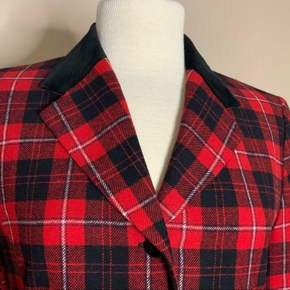 Pendleton | Vintage Red Plaid Blazer Velvet Trim - image 3