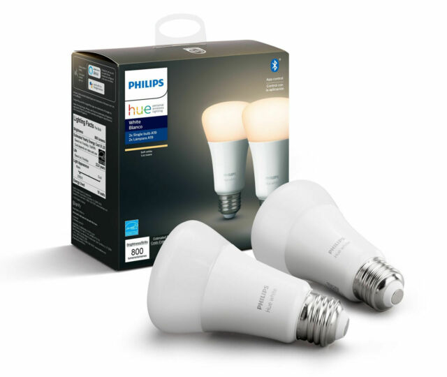 New Unopened - Philips Hue White A-19 2700K Warm 2-Pack Bulbs E26 - $18.99