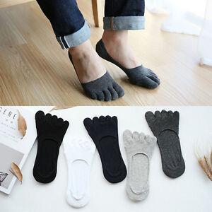 5-Pair-Mens-Cotton-Antibacterial-Five-Finger-Toe-Care-Low-Cut-Boat-Healthy-Socks