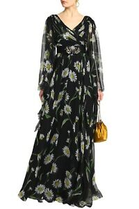 Rare-New-Dolce-amp-Gabbana-Margherite-Daisy-Print-Crystal-Belt-Gown-Dress-38-4