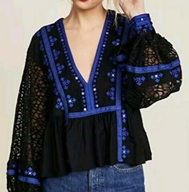 Free People OB756129 Boogie All Night Lace Sleeves Embroiderot Crop Blk XS