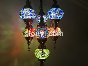 7 ball globe sultan mosaic chandelier turkish lamp turkish the image is loading 7 ball globe sultan mosaic chandelier turkish lamp aloadofball Image collections