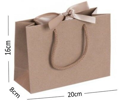 6 x Ivory Boutique Small Ribbon Gift Bags Rope Handle Jewellery Wedding Baby Bag