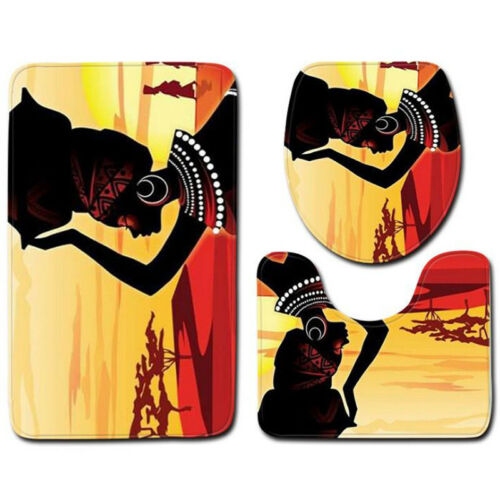 3 Pcs African Theme Non-slip Bath Pedestal Mat Toilet Lid Cover Carpet Bathroom