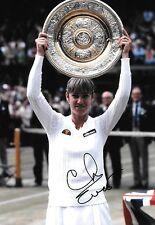 chris evert celebrating holding wimbledon trophy 1981 signed 12x8 photo