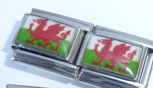 WELSH FLAG 9mm Italian Charm WALES Red Dragon E427 fits Classic Starter Bracelet