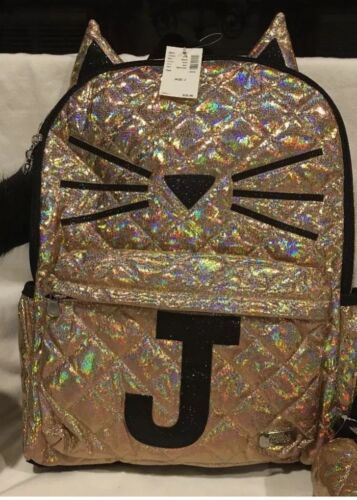 "NWT Justice  Gold Cat Quilted Style Initial ""J"" Backpack"