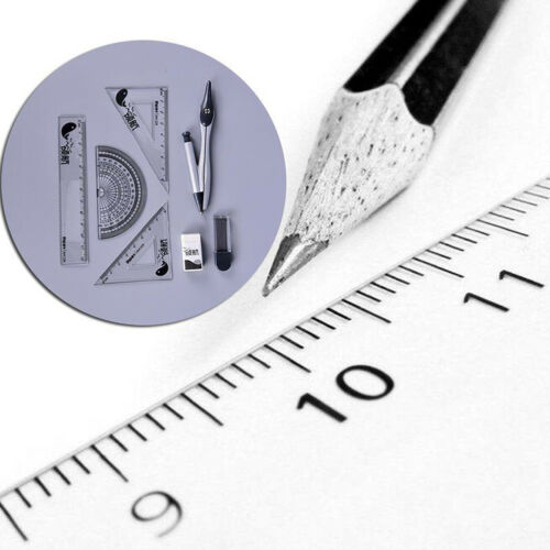 8 Pieces Drawing Compass Triangle Ruler Set Student Stationery Math Learn Tool#
