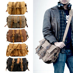 Men Vintage Style Canvas Leather Satchel School Military Shoulder ...