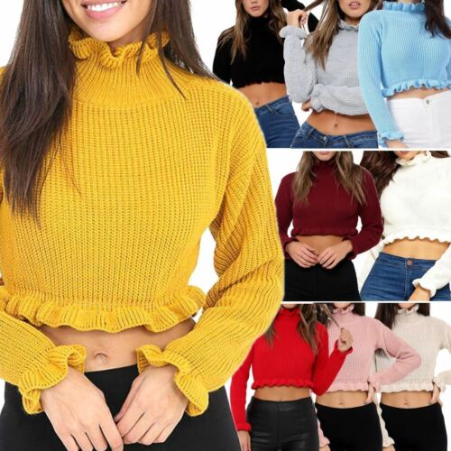 New Women Plain Knitted Chunky Ruffle Frill Cropped Jumper Top Sweater Size 8-14