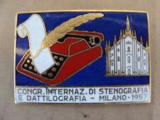 PLACCA SPILLA STENOGRAFIA TYPEWRITER OLIVETTI ICO EVEREST UNDERWOOD MILANO 1957
