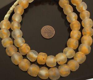 14mm-African-Pumpkin-Orange-Recycled-glass-African-trade-beads-Ghana