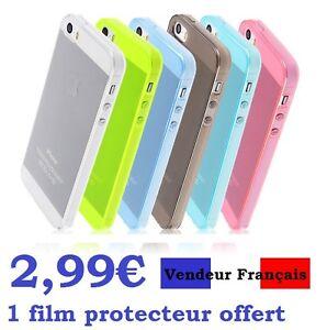 Coque-COULEUR-Iphone-5-SE-etui-housse-Apple-silicone-gel-1-FILM-PROTECTEUR