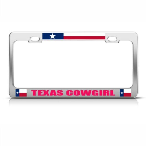 Texas Cowgirl Chome Metal License Plate Frame Tag Holder