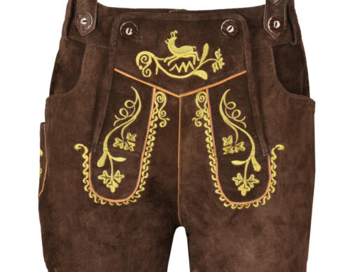 Men,s Long Chocolate LEDERHOSEN Real Suede Leather with Matching Suspenders