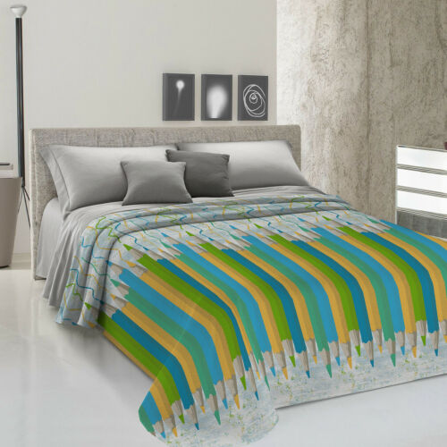 Bedspread Light Piquet-Pencils Drawing Crayons Green 100/% Cotton Made Italy
