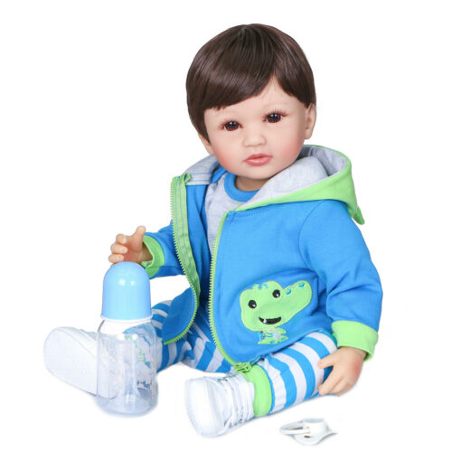 "Reborn Baby Dolls Boy 22/"" Full Body Silicone Vinyl Handmade Bath Toddler Toy"
