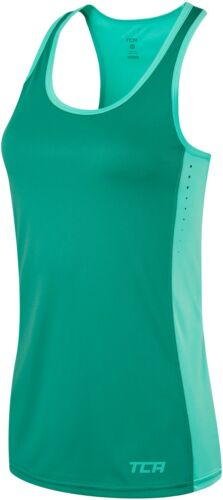 TCA Laser Womens Sports Vest Green Breathable Lightweight Gym Running Tank Top