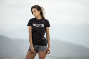 Triumph-Motorcycles-Vintage-Logo-Ladies-Tee-Black-T-Shirt-NEW-MTSS19009