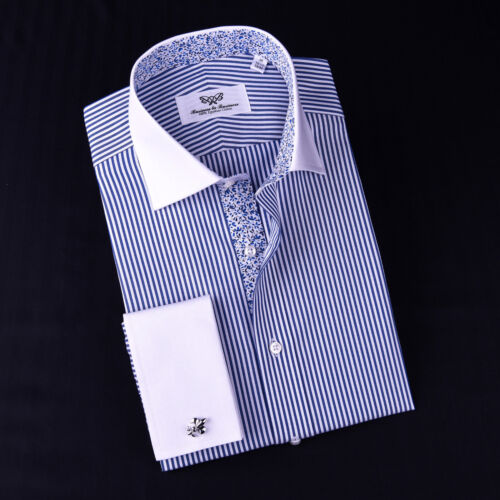 Blue Striped Formal Business Dress Shirt Contrast White Floral French Cuff Style