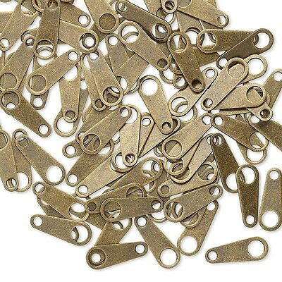 12 Chain End Tabs With Hole, Findings for Clasps Plated Over a Brass Base Metal