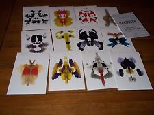 RORSCHACH CARDS NEW SET OF 12 COLOURED INK BLOT TEST CARDS