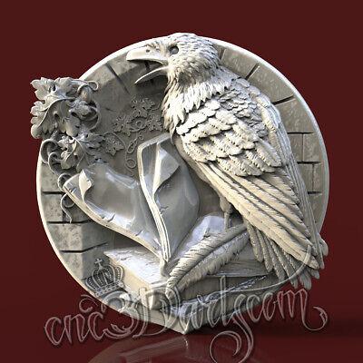 3D STL Model Raven Harley for CNC Router Carving Machine Printer Artcam aspire