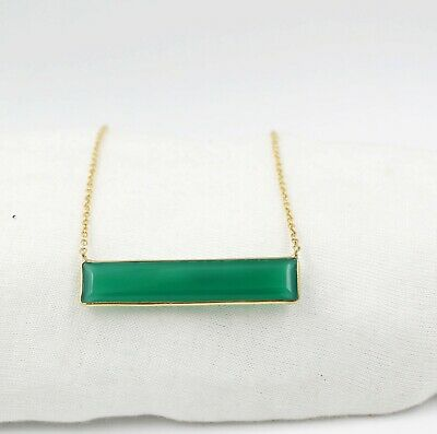 SSC109 Onyx Faceted Baguette Shape Connector Charm 28 x 11.5 mm Hot Selling Green Onyx Sterling Silver Bezel Connector