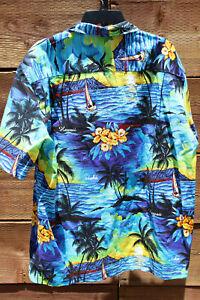 Royal-Creations-Hawaiian-Sail-Boats-Aloha-Shirt-Mens-Sz-XL-Vtg-100-Cotton-L-48