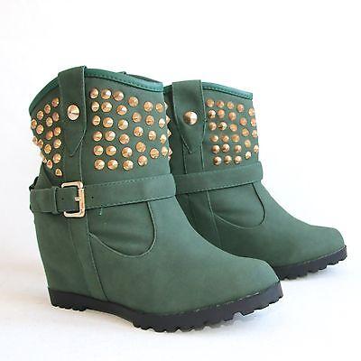 Stiefeletten 39 Grün Versteckter Keilabsatz Damenschuhe Boots Stiefel Shoes H197