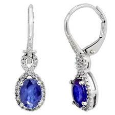 Amour 1/4 CT  Diamond TW And 2 CT TGW Diffused Sapphire LeverBack Earrings  10k