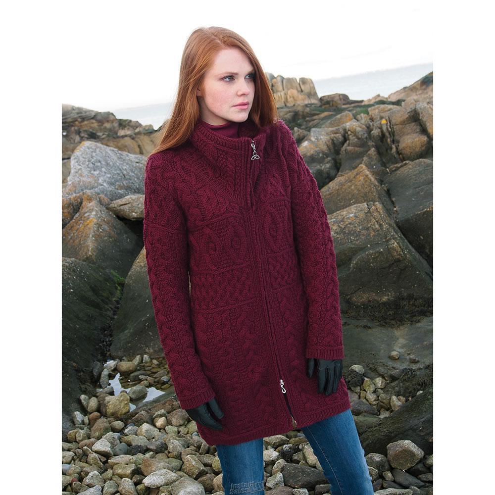 Hammacher Hammacher Hammacher ARANCRAFTS MERINO WOOL LONGSWEATER SIZE SMALL WINE Sweater 381e03