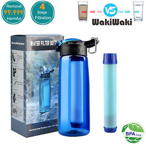 4-Stage Portable Water Filter Straw Bottle Purifier Camping Hiking Survival Tool