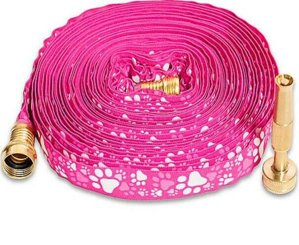 New Pink WaterHose 50' HydroHose in Pink Pawprint with Adjustable Brass Nozzle