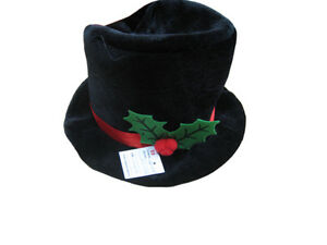 BLACK-VELOUR-XMAS-SNOWMAN-HAT-WITH-WIRED-BRIM-AND-HOLLY-DEC