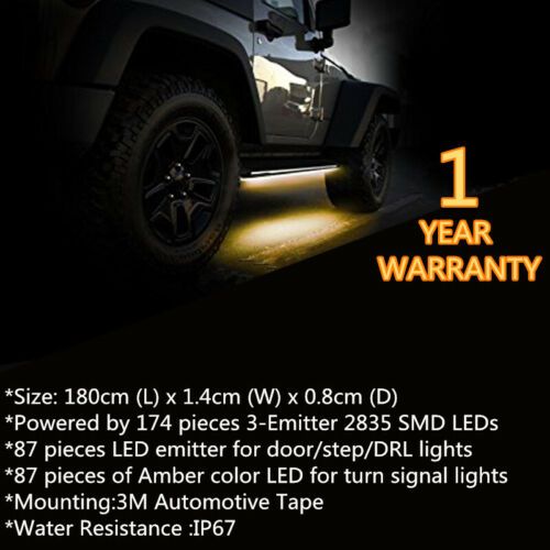 "2X 70/"" Running Board Side Step LED Light Amber White Turn Signal DRL Strip Bar"