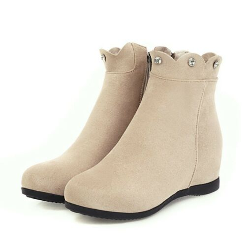 Details about  /Women/'s Rhinestone Ankle Boots Fashion Hidden Wedge Heel Round Toe Shoes 34//43 B