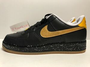 separation shoes b6beb e31c7 Image is loading Nike-ID-Air-Force-1-Low-Black-Gold-