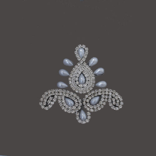 Hotfix Rhinestone Diamante Crystal Iron on Motif Chain Applique Bridal Trim B208