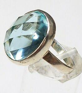 925-Sterling-Silber-Ring-facettierter-blauer-Schmuckstein-RG-54-17-2mm-A275