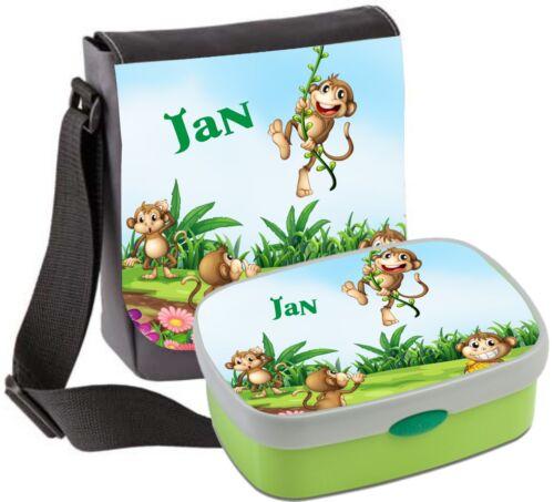 Kindergartentasche mit Wunschnamen Brotdose Rosti Mepal Schultertasche Affen