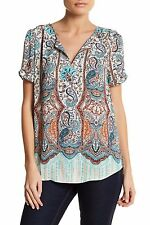 NWT DR2 by Daniel Rainn Pinch Sleeve Split Neck Hi-lo Hem Blouse B290INDIGO Sz L