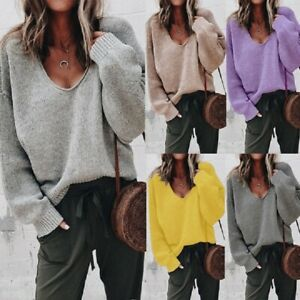 Pullover-Jumper-Loose-Tops-Women-039-s-Knitwear-Long-Sleeve-Knitted-V-Neck-Sweater