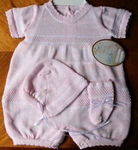 Will'beth Newborn Baby Girl Pink Knit Romper Bonnet Booties Take-Me-Home NWT