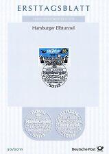 BRD 2011: Hamburger Elbtunnel 100! Ersttagsblatt mit der Nr. 2890! 1A! 1611