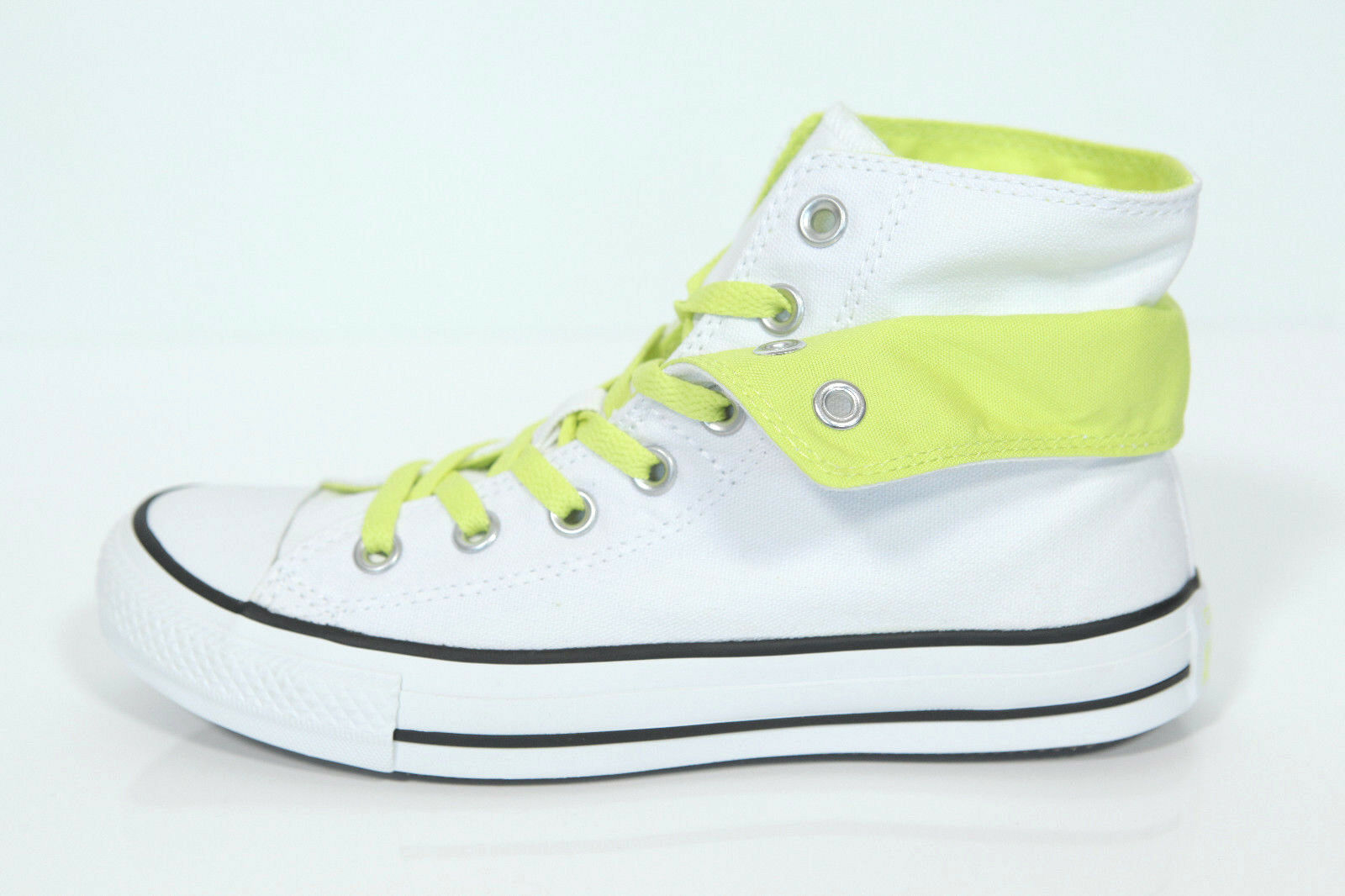 Neu All Star Converse Two Chucks Hi Two Converse Fold weiß citron Sneaker 542590c Retro Kult c36231