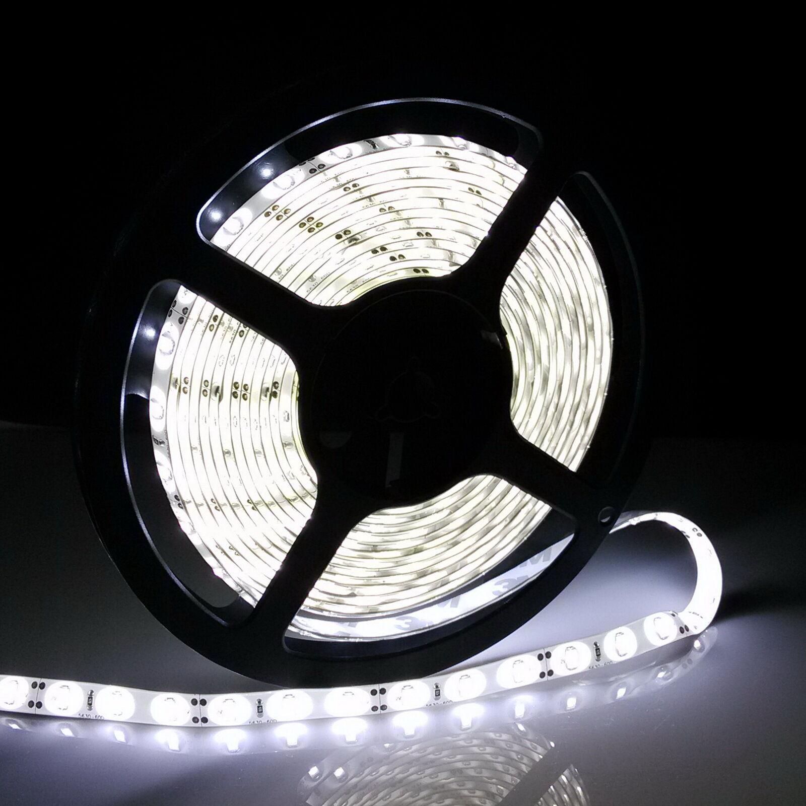 5m-20m 12V 24V SMD 5050 LED Stripe Streifen Band Leiste Licht Kaltweiß Netzteil