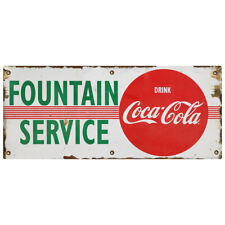 Fountain Service Drink Coca Cola Stripes Wall Decal 24 X 10 Distressed