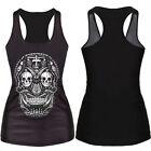 Women Summer Skull Print Singlet Vest Tank Tops Punk Rock T-Shirt SE CXF