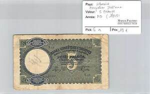 BILLET-ALBANIE-OCCUPATION-ITALIENNE-5-FRANGA-1939
